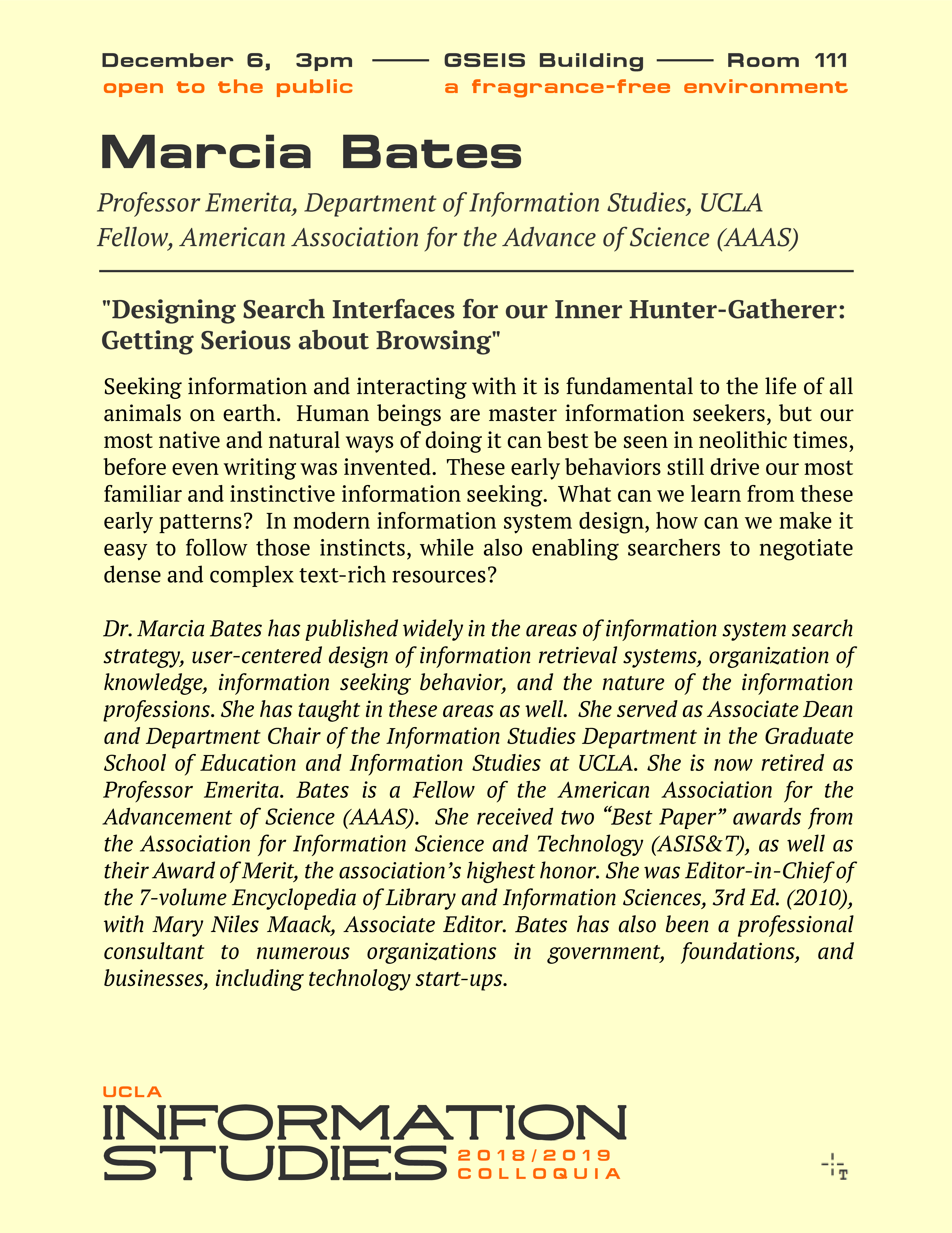 "Dr. Marcia Bates on ""Designing Search Interfaces for our Inner Hunter-Gatherer: Getting Serious about Browsing."""